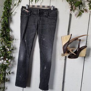 Diesel Matic Distressed Grey Skinny Jeans Sz 28